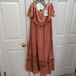 Amber colored dress , strapless Forever 21